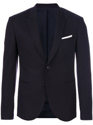 Neil Barrett Single Breasted Blazer Spandex Elastane Cupro Viscose Virgin Wool Blue