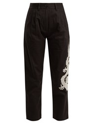 Mhi Dragon Embroidery Cotton Cropped Trousers Black