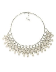 Carolee Pearl And Rhinestone Bib Necklace Silver