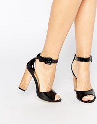 Truffle Collection Vela Ankle Strap Heeled Sandals Black Patent