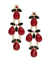 Cara Faceted Teardrop Chandelier Earring Red