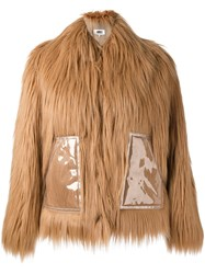 Maison Martin Margiela Mm6 Faux Fur Jacket Brown