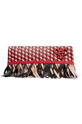 Emilio Pucci Fringed Woven Leather Fold Over Clutch Red