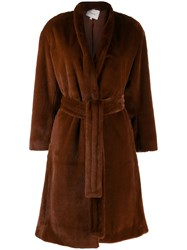 Vince Textured Belted Coat Brown