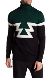Parke And Ronen Aztec Knit Turtleneck Sweater Green