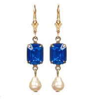 Passionate About Vintage Georgian Rhinestone Earrings In Cobalt