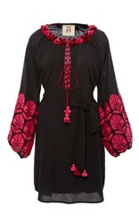 Figue Midnight Coco Embroidered Dress Navy