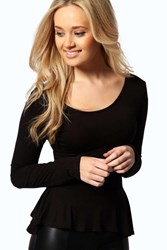 Boohoo Long Sleeve Viscose Peplum Top Black