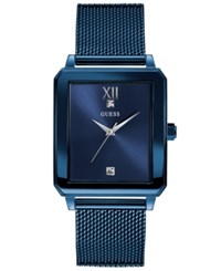 Guess Men's Diamond Accent Blue Stainless Steel Mesh Bracelet Watch 40X35mm