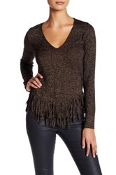 Riller And Fount Janey Long Sleeve Fringe Shirt Gray