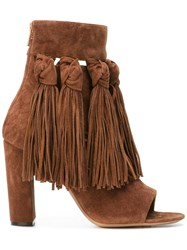 Chloe Fringed Open Toe Booties Brown