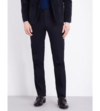 Corneliani Tailored Fit Tapered Stretch Cotton Chinos Navy