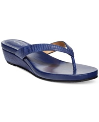 Style And Co. Haloe Wedge Thong Sandals Only At Macy's Women's Shoes Navy