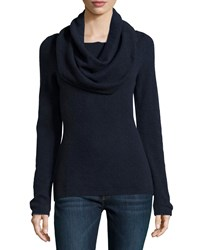 Minnie Rose Cashmere Cowl Neck Sweater Navy