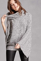 Forever 21 Marled Cowl Neck Dolman Top Heather Grey