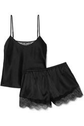 Cami Nyc Perry Lace Trimmed Stretch Silk Charmeuse Pajama Set Black