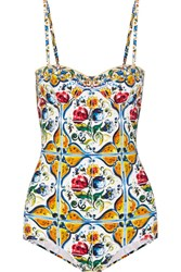 Dolce And Gabbana Printed Swimsuit Light Blue