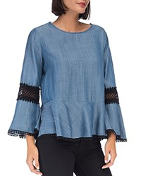 B Collection By Bobeau Lace Inset Peplum Top Medium Wash Blue