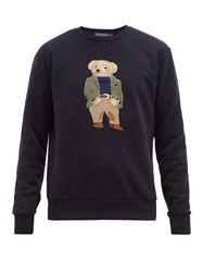 Ralph Lauren Purple Label Polo Bear Embroidered Cotton Blend Sweatshirt Navy