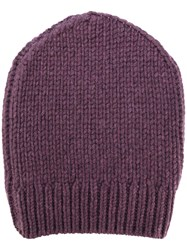 Eleventy Ribbed Detail Beanie Men Cashmere One Size Pink Purple