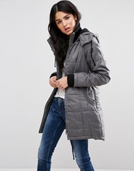Blend She Mona Long Rain Jacket Med Grey Navy