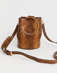 Warehouse Bucket Bag With Circle Handle In Snake Multi