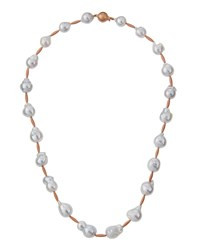 Belpearl Baroque South Sea Pearl Necklace W 14K Rose Gold Accents Women's