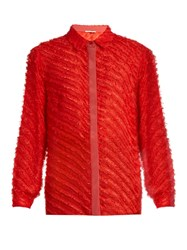 Marco De Vincenzo Fil Coupe Striped Silk Blend Shirt Red