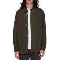 Gtiman Vintage Olive Drab Flannel Button Down Shirt Green
