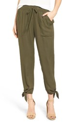 Socialite Women's Ankle Tie Pants Olive