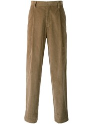 E. Tautz Pleated Straight Trousers Cotton Viscose Nude Neutrals