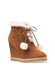 Michael Kors Chadwick Suede And Shearling Wedge Ankle Boots Dark Luggage