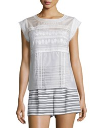 Veronica Beard Porter Lace Trim Mesh Tee Off White Women's Off White