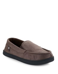 Isotoner Jake Moccasin Memory Foam Slippers Dark Chocolate