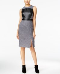 Catherine Malandrino Shari Faux Leather Front Sheath Dress Gris