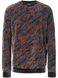 Emporio Armani Camouflage Patterned Jumper Blue