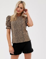 Moon River Puff Sleeve Leopard Print Top Multi
