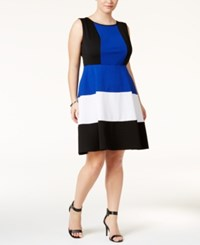 Love Squared Trendy Plus Size Striped Fit And Flare Dress Black White Cobalt