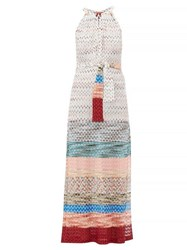 Missoni Mare Belted Knitted Midi Dress White Multi