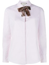 Gucci Sequin Neck Tie Shirt Pink And Purple
