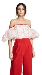 Costarellos Ots Top With Puffy Sleeves White Red