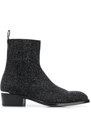 Alexander Mcqueen Glittered Ankle Boots Black