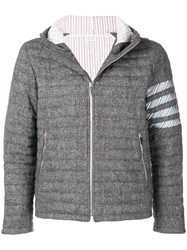 Thom Browne 4 Bar Quilted Down Donegal Jacket Grey