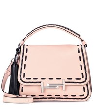 Tod's Double T Small Leather Shoulder Bag Pink