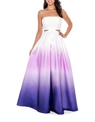 Decode 1.8 Ombre Cutout Ball Gown Purple White