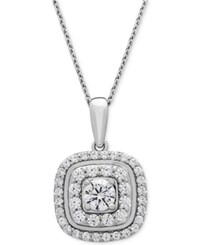 Wrapped In Love Diamond Double Halo Pendant Necklace 1 Ct. T.W. 14K White Gold Created For Macy's