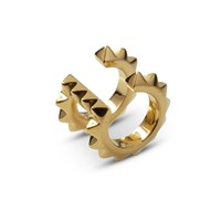 Kasun Croc Double Ear Cuff Yellow Gold