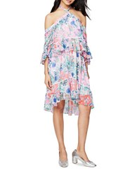 Rachel Roy Floral Print Ruffled Cold Shoulder Trapeze Dress Ivory Tropical