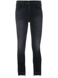 3X1 Frayed Hem Cropped Jeans Cotton Polyester Spandex Elastane Black