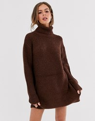 Moon River Roll Neck Jumper Dress Brown